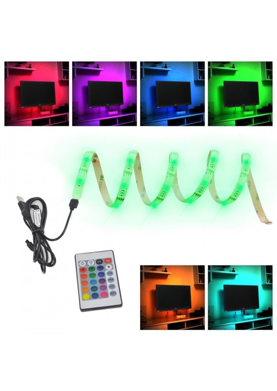 Bias Lighting TV Backlight ,Salute LED Strip Light USB Powered Multi Color Changed RGB Tape with Remote Control