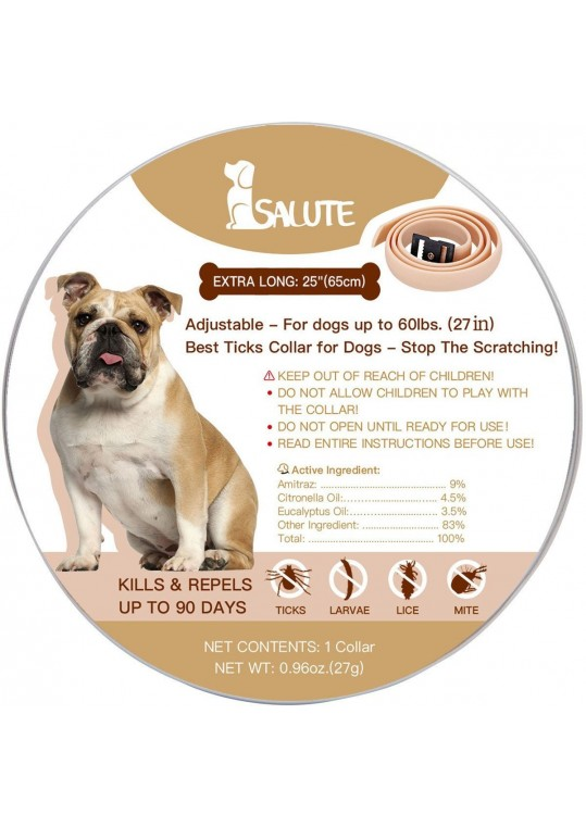 """Salute Flea and Ticks Collar for Dogs and Puppies, Adjustable One Size Fits All, Water Resistant - 27"""""""
