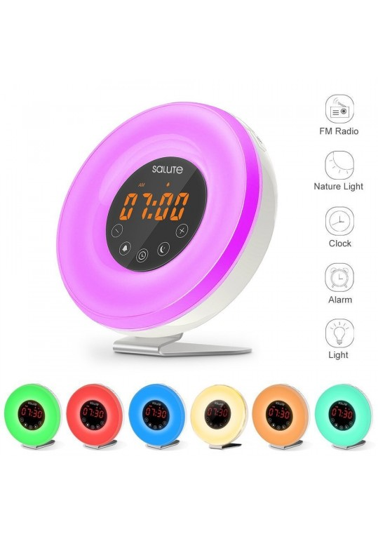 Wake Up Light Salute Sunrise Simulator Alarm Clock 6 Nature Sounds With USB Charger for Heavy Sleepers